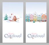 De winterlandschap en cityscape geplaatste de kaarten van de Kerstmisgroet Royalty-vrije Stock Afbeeldingen
