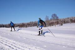 De winterlandschap en slepen voor skiërs Stock Foto's