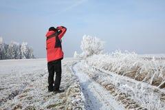 De winterlandschap en sneeuw verpakte bomen in Sumava, Tsjechische republiek, stock afbeelding