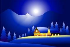 De winterlandschap & Gelukkige Kerstmis Royalty-vrije Stock Fotografie