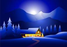 De winterlandschap & Gelukkige Kerstmis Stock Illustratie