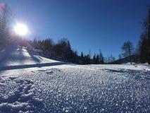 De winterlandschap in Goldegg, Oostenrijk Stock Fotografie