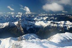 De winterlandschap in het Dolomiet Stock Foto
