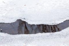 De winterlandschap in het park met meer en bezinningen Royalty-vrije Stock Fotografie