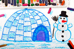 De winterlandschap, iglo en sneeuwman Stock Afbeelding
