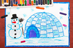 De winterlandschap, iglo en sneeuwman Stock Foto