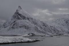 De winterlandschap in Lofoten-Archipel stock afbeeldingen
