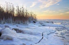 De winterlandschap met bevroren meer en zonsonderganghemel. Stock Afbeeldingen