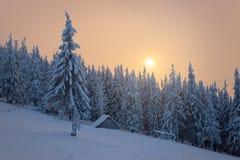 De winterlandschap met blokhuis in de bergen Stock Afbeeldingen
