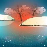 De winterlandschap met een rode zonsonderganghemel en een ijzig meer royalty-vrije illustratie