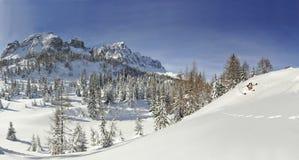 De winterlandschap met een skiër Stock Afbeelding