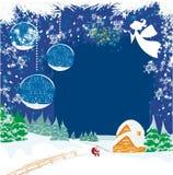 De winterlandschap met engelen en Kerstman royalty-vrije illustratie