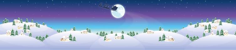 De winterlandschap met huizen en Santa Claus Royalty-vrije Stock Afbeelding