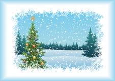 De winterlandschap met Kerstboom Stock Foto's
