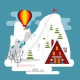 De winterlandschap met skitoevlucht, skisporen en hotel Royalty-vrije Stock Afbeelding
