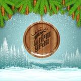 De winterlandschap met sparrentak en ronde houten grens die met herten door het nieuwe jaar van letters voorzien springen Stock Foto's