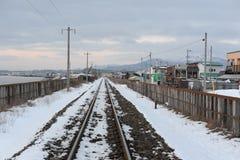 De winterlandschap met spoorweg Stock Afbeeldingen