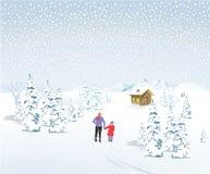 De winterlandschap met vader en kind Stock Afbeeldingen