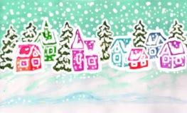 De winterlandschap met veelkleurige huizen, het schilderen Stock Fotografie