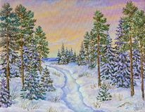 De winterlandschap met de weg en pijnboombomen in de sneeuw op een canvas Origineel Olieverfschilderij royalty-vrije illustratie