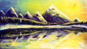 De winterlandschap met zon Royalty-vrije Stock Afbeeldingen