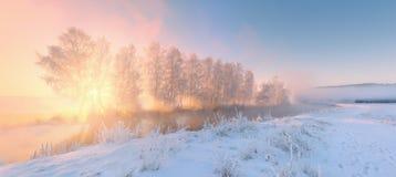 De winterlandschap met zonstralen Stock Foto