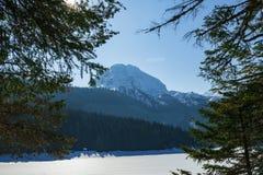 De winterlandschap in Montenegro stock afbeeldingen