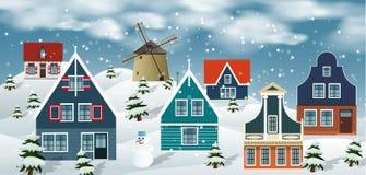 De winterlandschap (Nederlands platteland) stock illustratie