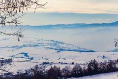 De winterlandschap in Novi Pazar, Servië Stock Fotografie