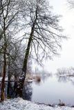 De winterlandschap op Havel-Rivier (Duitsland) Stock Afbeelding