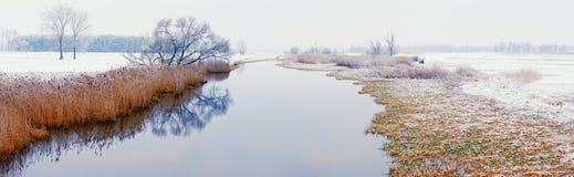 De winterlandschap op Havel-Rivier (Duitsland) Stock Foto's