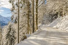 De winterlandschap, Slovenië Stock Foto's