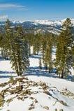 De winterlandschap van alpiene toevlucht stock afbeelding