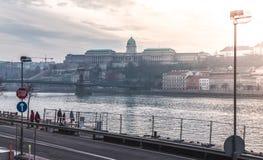 De winterlandschap van Boedapest stock afbeelding