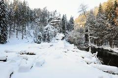 De winterlandschap van Boheems Zwitserland stock foto's