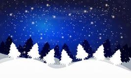 De winterlandschap van bomen tegen de nachthemel vector illustratie