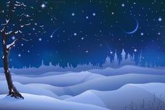 De winterlandschap van de avond Stock Foto