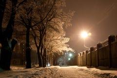 De winterlandschap van de nacht Stock Foto's