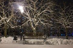 De winterlandschap van de nacht Stock Foto