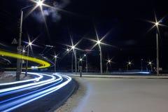 De winterlandschap van de nacht Stock Afbeeldingen