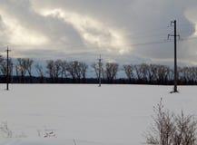 De winterlandschap van een sneeuw behandeld gebied stock fotografie