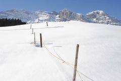 De winterlandschap van Engelberg Stock Foto's