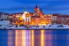 De winterlandschap van Grudziadz bij Vistula-rivier Stock Foto's