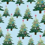 De winterlandschap van Kerstmis Naadloze patroon en achtergrond royalty-vrije illustratie