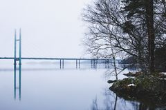 De winterlandschap van mooie Heinola, Finland Royalty-vrije Stock Afbeeldingen