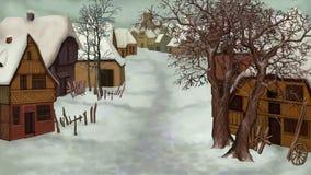 De winterlandschap van Oud Nederlands Dorp stock illustratie