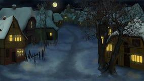 De winterlandschap van Oud Nederlands Dorp bij Nacht vector illustratie