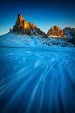 De winterlandschap van Passo Giau, Dolomiet, Italië stock afbeeldingen