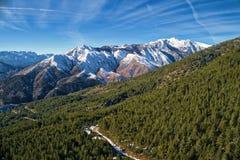 de winterlandschap van de Pindus-bergketen Stock Foto's