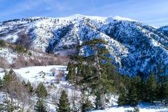 de winterlandschap van de Pindus-bergketen Stock Afbeeldingen
